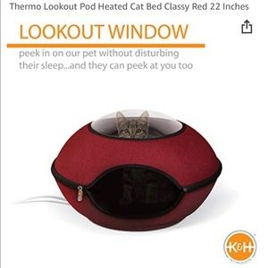 K&H Pet Thermo Lookout Pod Heated Cat Bed - Red